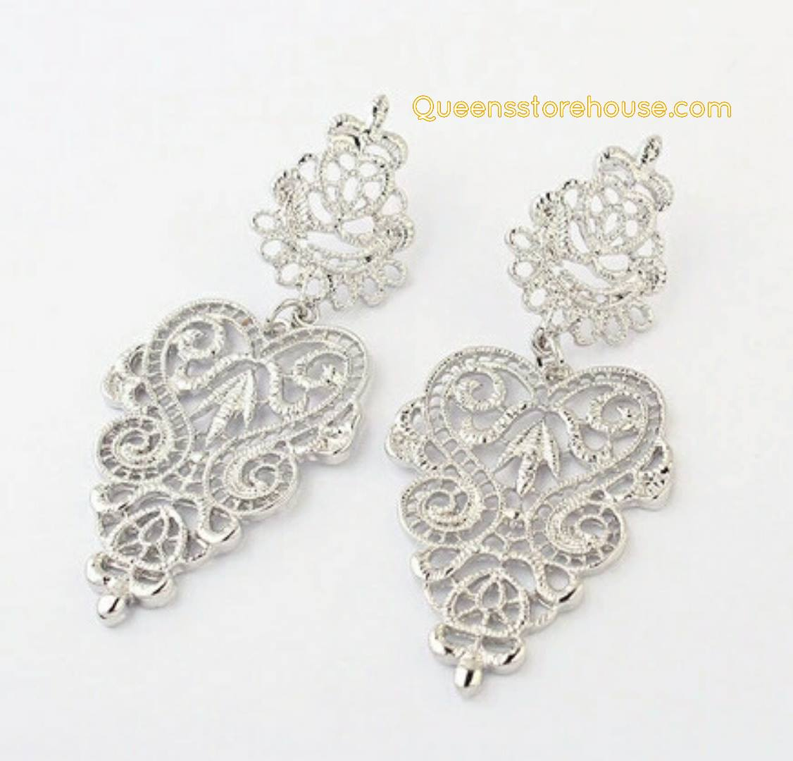 Vintage Statement Textured Chandelier Earrings Silver - The ...